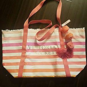 New Victoria Secret striped canvas tote bag